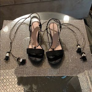 Kate Spade lace up black and gold sandals